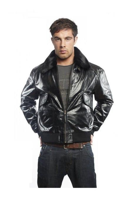 Men Leather Bomber Jackets in Black